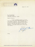 Movie/TV Memorabilia:Autographs and Signed Items, George Pal Signed Letter. Typed letter to actor Gray Daniels on Paramount letterhead, dated August 22, 1972, signed by the l...