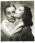 "Movie/TV Memorabilia:Photos, Tyrone Power and Loretta Young Photo by George Hurrell. A b&w16"" x 20"" silver print of Power and Young, #9 in a limited edi..."