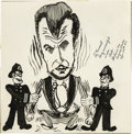Movie/TV Memorabilia:Memorabilia, Vincent Price Caricature. An amusing ink-and-paper caricature,circa 1952, of Vincent Price being apprehended by a pair of ...