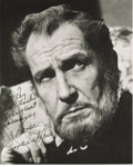 "Movie/TV Memorabilia:Autographs and Signed Items, Vincent Price Signed Photo. A b&w 8"" x 10"" portrait of abrooding Price, inscribed ""To Roy with thanks for a great evening...."
