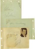 Movie/TV Memorabilia:Autographs and Signed Items, Hollywood Tough Guys Autograph Set. Set of three autograph albumpages includes one each for George Raft (blue ink, undated)...