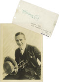 "Movie/TV Memorabilia:Autographs and Signed Items, Rare Wallace Reid Signature. Rare fountain pen signature bysilent-screen actor Wallace Reid on a 5"" x 3"" autograph album pa..."
