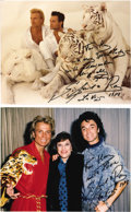 "Movie/TV Memorabilia:Autographs and Signed Items, Siegfried and Roy Signed Photos. Two color 8"" x 10"" photos signedby the famous magicians to Kaye Ballard, who can be seen s..."