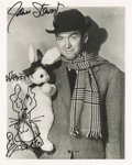 "Movie/TV Memorabilia:Autographs and Signed Items, James Stewart Signed ""Harvey"" Photo with Doodle. A b&w 8"" x 10""promo still for the 1950 comedy, featuring Stewart holding a..."