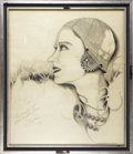 Movie/TV Memorabilia:Autographs and Signed Items, Original Signed Sketch of Gloria Swanson. This is a wonderful,framed black-and-white profile sketch of Gloria Swanson, capt...(Total: 2 )