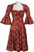 Movie/TV Memorabilia:Costumes, Lupe Vélez Costume Dress. Elaborately brocaded red and white gownwith red sequins worn by Mexican actress Lupe Vélez in an ...