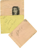 Movie/TV Memorabilia:Autographs and Signed Items, Leading Ladies Autograph Set. Set of three autograph album pagesincludes one each for Susan Hayward (black ink, dated Augus...