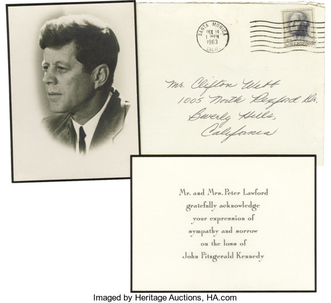 jfk remembrance cards to clifton webb from peter lawford lot