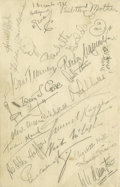 Movie/TV Memorabilia:Autographs and Signed Items, Vendome Menu Signed by Celebrities. Vendome special dinner menu, dated June 5, 1935, signed in pencil by H.G. Wells, Paulett...