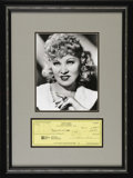 "Movie/TV Memorabilia:Autographs and Signed Items, Mae West Signed Check with Photo. ""It's better to be looked overthan overlooked"" once quipped actress Mae West, whose frank..."