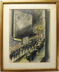 Movie/TV Memorabilia:Original Art, Richard Whorf Original Drawing Presented to Kaye Ballard. Color pencil sketch of a Broadway street scene by late actor-direc...