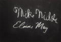 "Movie/TV Memorabilia:Autographs and Signed Items, Mike Nichols and Elaine May Signed ""What's My Line?"" Card. A 26"" x18"" black card from the show signed in white chalk by the..."