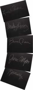 "Movie/TV Memorabilia:Autographs and Signed Items, Set of Five ""What's My Line?"" Guest Cards Signed by Mickey Rooneyand Others. Set of five 26"" x 18"" black cards from the sho..."