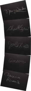 "Movie/TV Memorabilia:Autographs and Signed Items, Set of Five ""What's My Line?"" Guest Cards Signed by Joan Collinsand Others. Set of five 26"" x 18"" black cards from the show..."