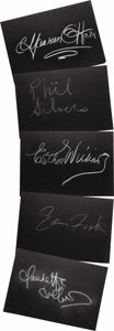 "Movie/TV Memorabilia:Autographs and Signed Items, Set of Five ""What's My Line?"" Guest Cards Signed by ClaudetteColbert and Others. Set of five 26"" x 18"" black cards from the..."