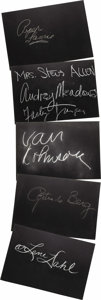 "Movie/TV Memorabilia:Autographs and Signed Items, Set of Five ""What's My Line?"" Guest Cards Signed by Van Johnson andOthers. Set of five 26"" x 18"" black cards from the show ..."