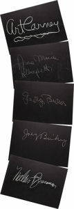 """Movie/TV Memorabilia:Autographs and Signed Items, Set of Five """"What's My Line?"""" Guest Cards Signed by George Burnsand Others. Set of five 26"""" x 18"""" black cards from the show..."""
