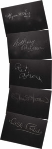 """Movie/TV Memorabilia:Autographs and Signed Items, Set of Five """"What's My Line?"""" Guest Cards Signed by Olivia de Havilland and Others. Set of five 26"""" x 18"""" black cards from t..."""