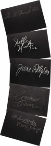 "Movie/TV Memorabilia:Autographs and Signed Items, Set of Five ""What's My Line?"" Guest Cards Signed by Shelley Winters and Others. Set of five 26"" x 18"" black cards from the s..."