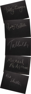 """Movie/TV Memorabilia:Autographs and Signed Items, Set of Five """"What's My Line?"""" Guest Cards Signed by Rudy Vallee andOthers. Set of five 26"""" x 18"""" black cards from the show ..."""
