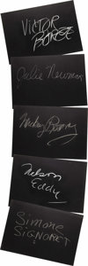 "Movie/TV Memorabilia:Autographs and Signed Items, Set of Five ""What's My Line?"" Guest Cards Signed by Julie Newmarand Others. Set of five 26"" x 18"" black cards from the show..."