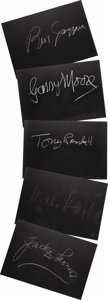 "Movie/TV Memorabilia:Autographs and Signed Items, Set of Five ""What's My Line?"" Guest Cards Signed by Tony Randalland Others. Set of five 26"" x 18"" black cards from the show..."