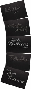 "Movie/TV Memorabilia:Autographs and Signed Items, Set of Seven ""What's My Line?"" Guest Cards Signed by Jack Lemmonand Others. Set of seven 26"" x 18"" black cards from the sho..."