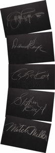 """Movie/TV Memorabilia:Autographs and Signed Items, Set of Five """"What's My Line?"""" Guest Cards Signed by Danny Kaye andOthers. Set of five 26"""" x 18"""" black cards from the show s..."""