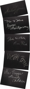 "Movie/TV Memorabilia:Autographs and Signed Items, Set of Five ""What's My Line?"" Guest Cards Signed by Victor Borgeand Others. Set of five 26"" x 18"" black cards from the show..."