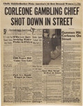 "Movie/TV Memorabilia:Props, ""The Godfather"" Prop Newspaper. ""Corleone Gambling Chief Shot Downin Street"" reads the headline on this prop New York Ame..."