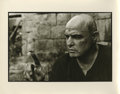 "Movie/TV Memorabilia:Photos, Marlon Brando With Dragonfly Photo by Mary Ellen Mark. A stunning14"" x 11"" b&w silver gelatin print of Marlon Brando contem..."
