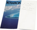 Movie/TV Memorabilia:Memorabilia, Tetiaroa Pamphlet with Quote Handwritten by Marlon Brando. Aprototype color pamphlet advertising Brando's Tahitian atoll, w...
