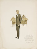 """Movie/TV Memorabilia:Original Art, Marlon Brando Costume Sketch from """"The Ugly American."""" A costume sketch by Rosemary Odell for the 1963 drama. The notation o..."""