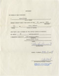 Movie/TV Memorabilia:Autographs and Signed Items, Marlon Brando Signed Affidavit. A notarized affidavit dated March10, 1969, certifying the date and place of Brando's birth,...