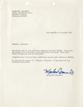 Movie/TV Memorabilia:Autographs and Signed Items, Marlon Brando Signed Tetiaroa Letter. A single-page photocopy of a letter dated October 23, 1971, and signed by Brando in bl...
