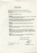 Movie/TV Memorabilia:Autographs and Signed Items, Marlon Brando Protocole D'Accord Document. A one-page, typed document, dated October 21, 1972, written in French and pertain...