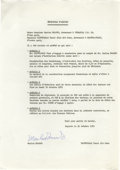 Movie/TV Memorabilia:Autographs and Signed Items, Marlon Brando Protocole D'Accord. A one-page, typed document, dated October 21, 1972, written in French and pertaining to Br...