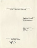 """Movie/TV Memorabilia:Autographs and Signed Items, Marlon Brando Initialed Document. A cover sheet titled """"A Proposalfor Archaeological and Historical Survey and Restoration ..."""