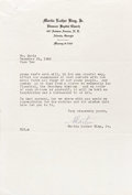 Movie/TV Memorabilia:Autographs and Signed Items, Martin Luther King Jr. Signed Letter to Sammy Davis Jr. A stirring,two-page typed letter on personal letterhead, dated Dece...