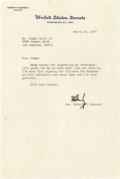 Movie/TV Memorabilia:Autographs and Signed Items, Robert Kennedy Signed Letter to Sammy Davis Jr. Single-page, typedletter on U.S. Senate stationery, dated March 28, 1968, f...