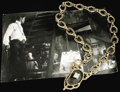 "Movie/TV Memorabilia:Costumes, Sammy Davis Jr.'s Gold Necklace from ""Poor Devil."" A serious piece of bling, this heavy gold necklace consists of 18 thick f..."