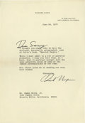 Movie/TV Memorabilia:Autographs and Signed Items, Richard Nixon Signed Letter to Sammy Davis Jr. Single-page, typed letter on personal stationery, dated June 24, 1977, from N...