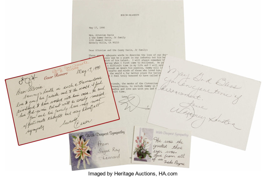 cards and letters of sympathy to sammy davis jr s lot 24047