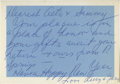 "Movie/TV Memorabilia:Autographs and Signed Items, Lucille Ball Handwritten ""Happy New Year"" Card to Sammy Davis Jr.and Altovise Gore. Small, 5"" x 3.5"" handwritten card from..."