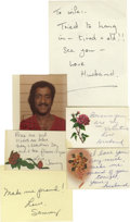 Movie/TV Memorabilia:Autographs and Signed Items, Letter and Cards From Sammy Davis Jr. to Wife. Two handwrittennotes, three handwritten cards from flower arrangements (one ...