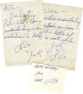 Movie/TV Memorabilia:Autographs and Signed Items, Handwritten Letters from Liza Minelli to Sammy Davis Jr. Twohandwritten letters, undated (one each to Sammy and Altovise) a...
