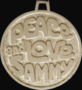 "Movie/TV Memorabilia:Memorabilia, Sammy Davis Jr. ""Peace and Love"" Medallion. This swanky 2""medallion has a stylized rendition of Sammy on one side andreads..."