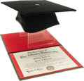 Movie/TV Memorabilia:Awards, Sammy's Atlanta University Diploma and Mortarboard. Sammy's honorary Doctor of Literature diploma awarded to him by the Atla...