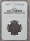 Half Cents, 1805 1/2 C Small 5, Stems Good 6 NGC. C-3, B-3, R.4....