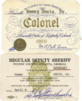 Movie/TV Memorabilia:Memorabilia, Sammy's Colonel and Deputy Sheriff ID Cards. A card identifyingSammy as a colonel in the Honorable Order of Kentucky Colone...
